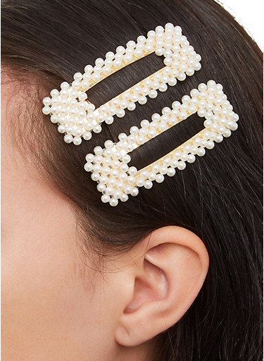 Square Faux Pearl Clips,IVORY,large
