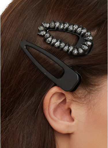 Jeweled and Solid Hair Clip Duo,BLACK,large