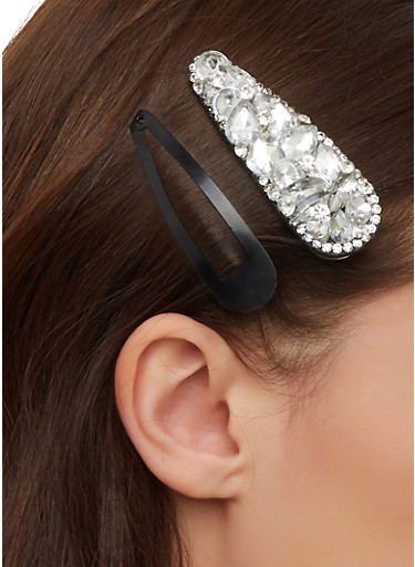 Bejeweled and Solid Hair Clip Duo,CLEAR,large