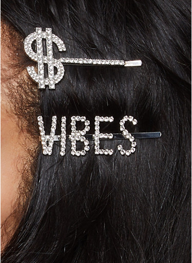 Dollar Sign Vibes Bobby Pin Duo,SILVER,large