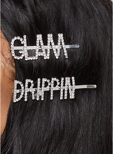 Drippin Glam Bobby Pin Duo,SILVER,large