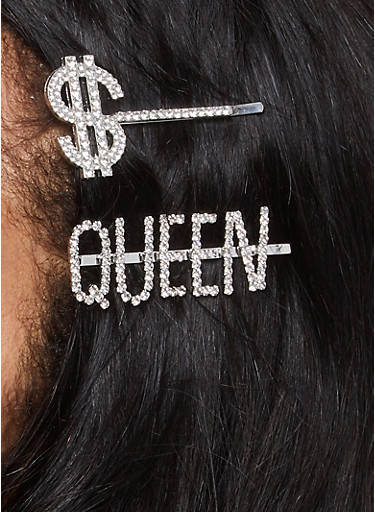 Queen Dollar Sign Bobby Pins,SILVER,large