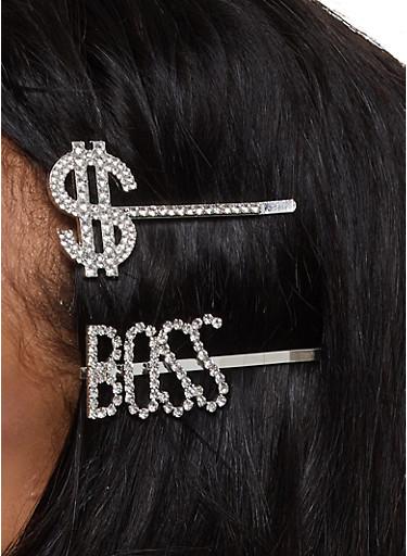 Boss Dollar Sign Hair Clip Set,SILVER,large