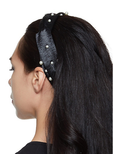 Faux Pearl Satin Head Wrap,BLACK,large