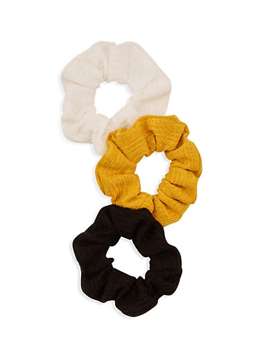 Set of 3 Solid Scrunchies,MULTI COLOR,large