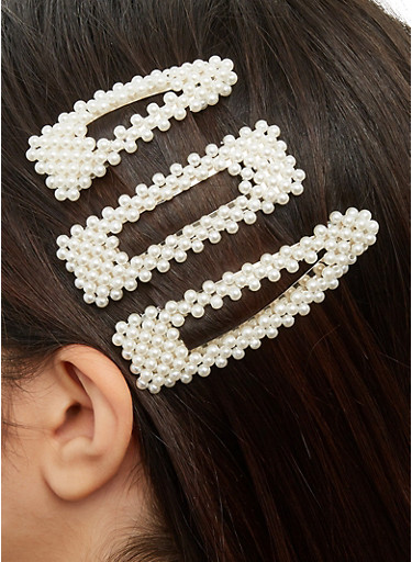 Set of 3 Faux Pearl Hair Clips,SILVER,large