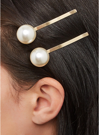 Oversized Faux Pearl Bobby Pins,GOLD,large