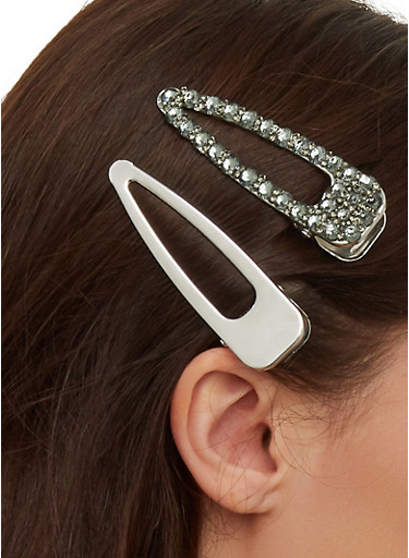 Rhinestone and Solid Hair Clip Duo,BLACK,large