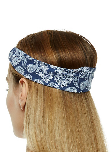 Set of 2 Paisley Print Headwrap,NAVY,large