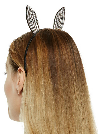 Rhinestone Bunny Ear Headband,BLACK,large