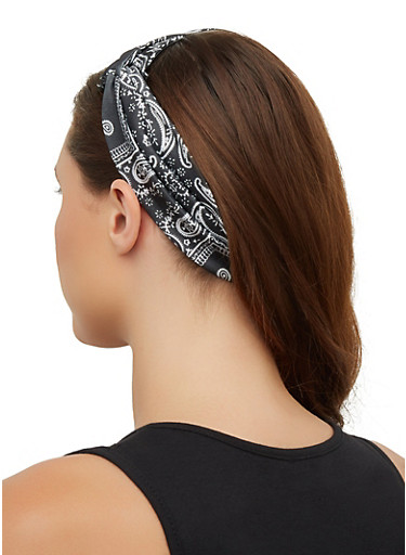 Bandana Print Head Wrap,BLACK/WHITE,large