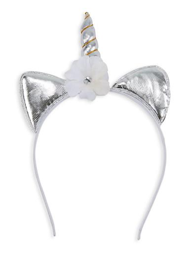 Flower Unicorn Headband,SILVER,large
