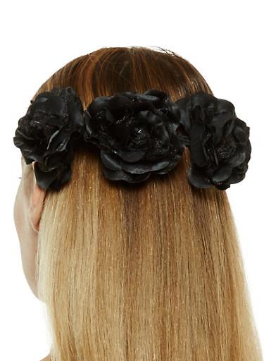Stretch Flower Headband,BLACK,large