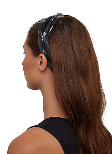 Paisley Twist Front Headwrap,BLACK,large