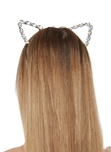 Rhinestone Cat Ears Headband,CLEAR AB(AURORA BOREALIS),large