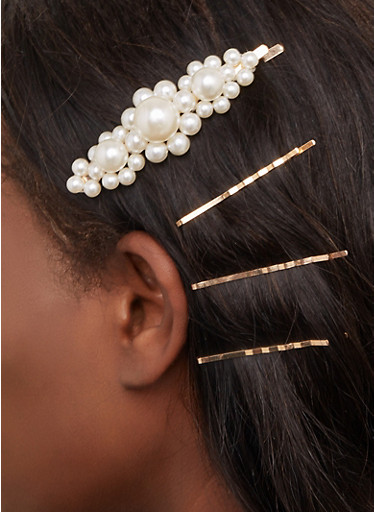 Faux Pearl Bobby Pins,GOLD,large
