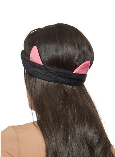 Plush Ear Headwrap,BLACK,large