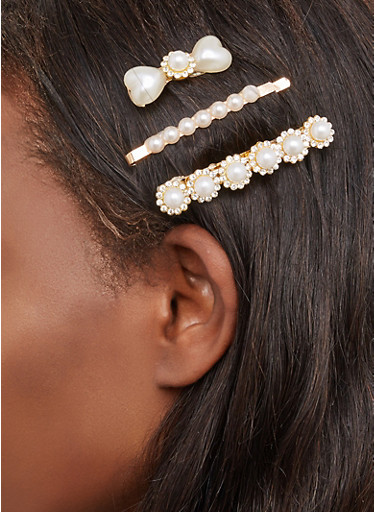 Faux Pearl Clip Trio,IVORY,large