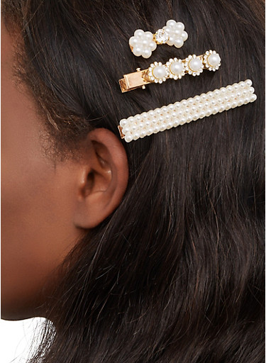 Faux Pearl Hair Clips,GOLD,large