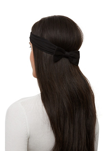 Set of 2 Bow Head Wraps,BLACK,large