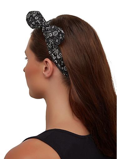 Bandana Print Knotted Head Wrap,BLACK,large