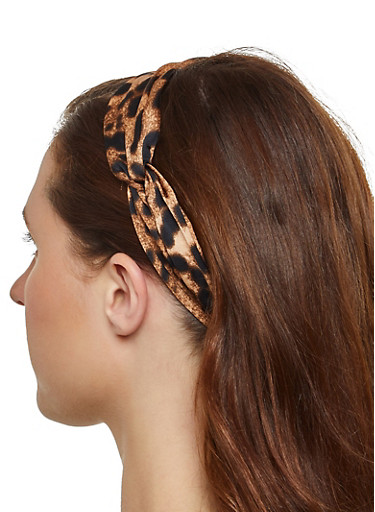 Leopard Knotted Head Wrap,BROWN,large