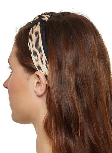 Leopard Knotted Headband,BLACK,large