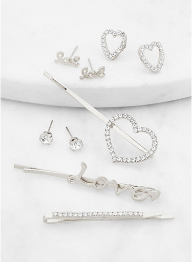 Set of 6 Assorted Love Bobby Pins and Stud Earrings,SILVER,large