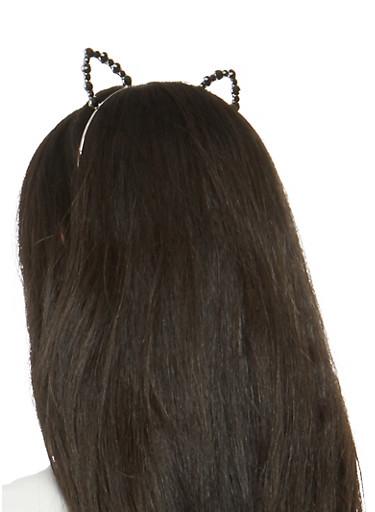 Metallic Rhinestone Cat Ear Headband,SILVER,large