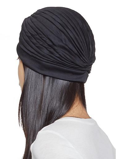 Twist Front Turban Headwrap,BLACK,large