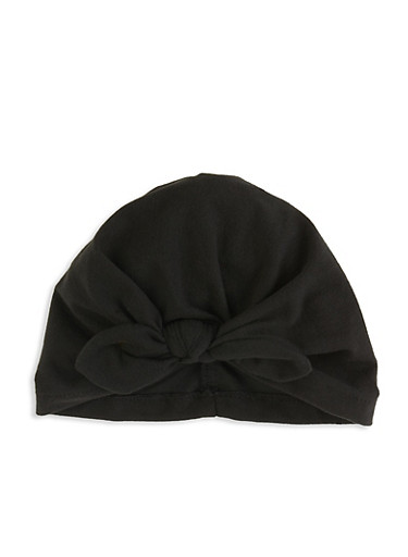 Tie Front Turban Headwrap,BLACK,large
