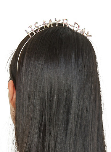 Rhinestone Its My Birthday Headband,SILVER,large
