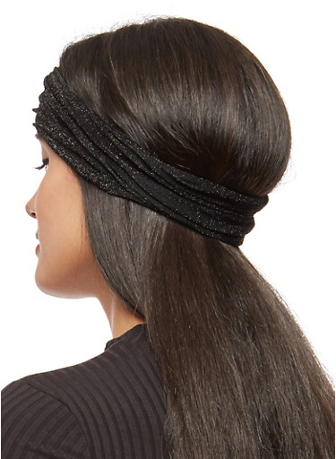Convertible Shimmer Knit Headwrap,BLACK,large