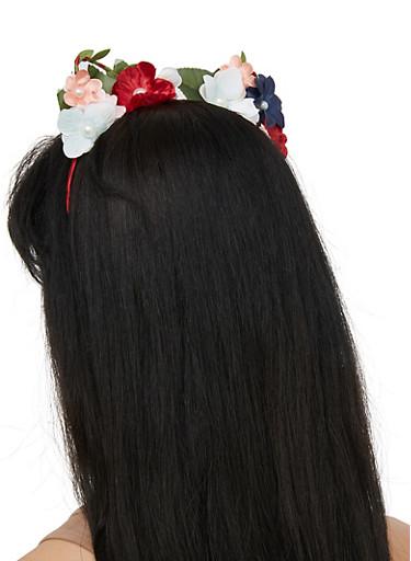 Faux Pearl Flower Cat Ear Headband,MULTI COLOR,large