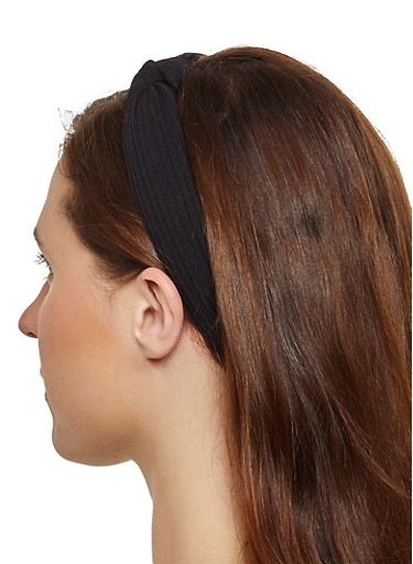 Ribbed Knot Front Headband,BLACK,large