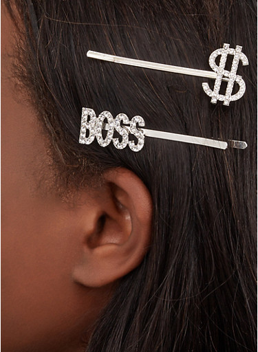 Boss Dollar Sign Rhinestone Bobby Pins,SILVER,large