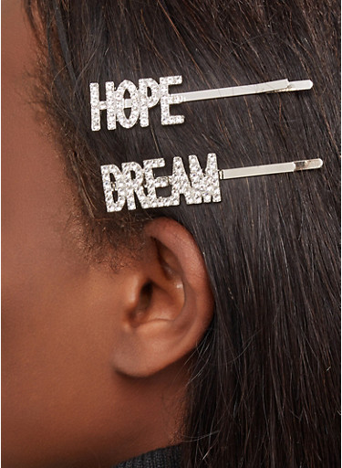 Rhinestone Hope Dream Bobby Pins,SILVER,large