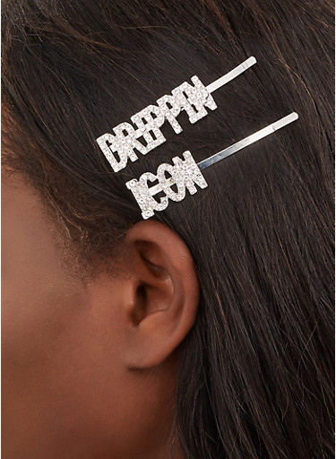 Drippin Icon Bobby Pins,SILVER,large