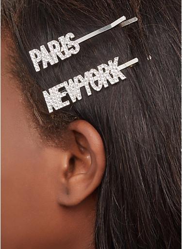Paris New York Bobby Pins,SILVER,large