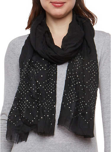 Rhinestone Studded Scarf,BLACK,large
