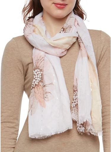 Floral Rhinestone Scarf,WHITE,large