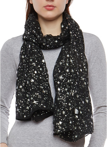 Metallic Star Embossed Lightweight Scarf,BLACK,large
