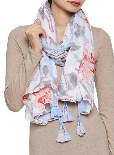 Floral Scarf,WHITE,large