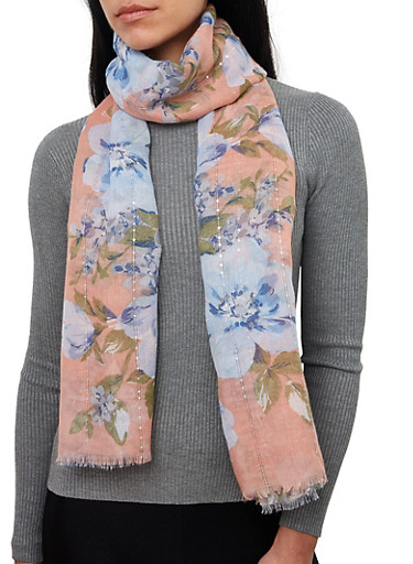 Floral Frayed Sequin Scarf,MAUVE,large
