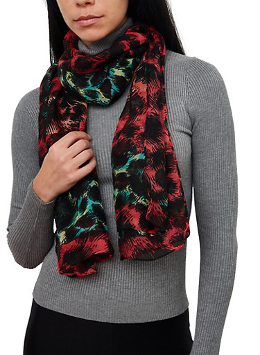 Abstract Print Lightweight Scarf,RED,large