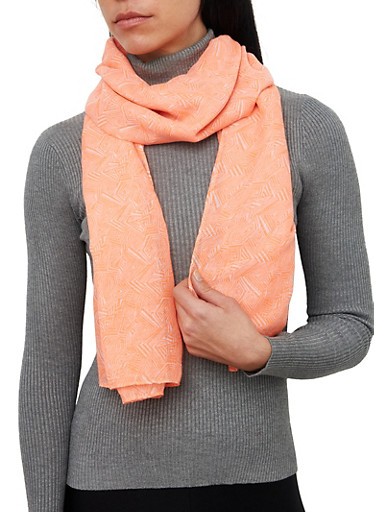 Abstract Print Lightweight Scarf,CORAL,large