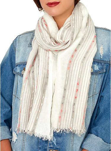 Embroidered Lightweight Scarf,WHITE,large