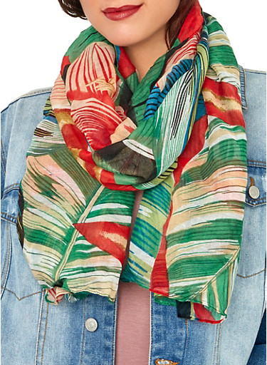 Leaf and Floral Print Lightweight Scarf,RED,large