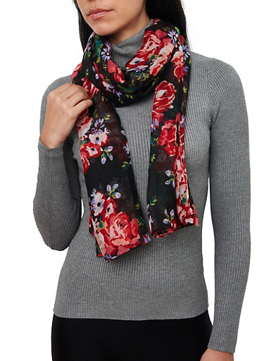 Floral Lightweight Oblong Scarf,RED,large