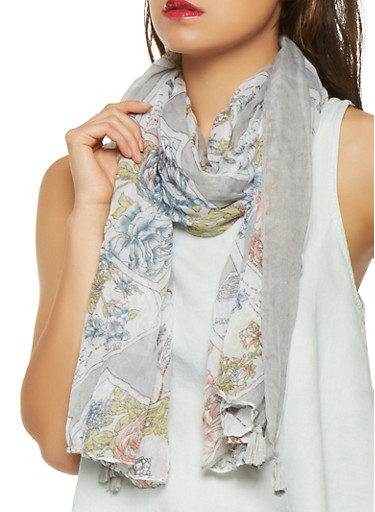 Printed Lightweight Scarf,TAUPE,large